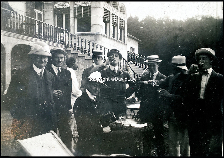 BNPS.co.uk(01202 558833)<br /> Pic: DavidLay/BNPS<br /> <br /> The British squad relaxing in Buenos Aires.<br /> <br /> A rare photo album which documents the historic first British Lions' tour to Argentina in 1910 has been unearthed, and it shows rugby players were no strangers to a bit of mischief back then.<br /> <br /> The fascinating photos capture what went on both on and off the pitch as a squad of 16 English and three Scottish players embarked on a six match tour of the country culminating in a historic test match with Argentina.<br /> <br /> It was Argentina's first ever test match and the Lions emerged 28-3 winners in a game played at a polo ground in Buenos Aires.<br /> <br /> The photos capture the vibrant social side of the tour as the rugby players were not afraid to let their hair down.