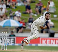 1st December 2019, Hamilton, New Zealand;  Daryl Mitchell bowling.<br /> International test match cricket, New Zealand versus England at Seddon Park, Hamilton, New Zealand. Sunday 1 December 2019.