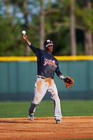 Tampa Yankees shortstop Jorge Mateo (14) throws to first during a game against the Lakeland Flying Tigers on April 7, 2016 at Henley Field in Lakeland, Florida.  Tampa defeated Lakeland 9-2.  (Mike Janes/Four Seam Images)