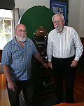 Coiner Ken Hopple, left, and Curator Bob Nylen pose at the Nevada State Museum in Carson City, Nev., on Friday, May 30, 2014. <br /> Photo by Cathleen Allison