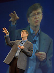 ** FILE ** - Microsoft Corp. co-founder Bill Gates gestures during his keynote address at the RSA Conference in San Francisco, in this Tuesday, Feb. 15, 2005 file photo. The European Union's head office on Monday May 23, 2005 gave Microsoft Corp. until the end of the month to come up with satisfactory proposals to settle the landmark case against its software or face punitive sanctions, an EU official said Monday. (AP Photo/Paul Sakuma)