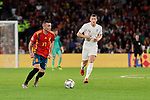 Spain's Iago Aspas and England's Ross Barkley during UEFA Nations League 2019 match between Spain and England at Benito Villamarin stadium in Sevilla, Spain. October 15, 2018. (ALTERPHOTOS/A. Perez Meca)