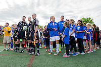 Allston, MA - Sunday, May 22, 2016: The officials and teams line up prior to a regular season National Women's Soccer League (NWSL) match at Jordan Field.