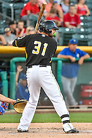 Kaleb Cowart (31) of the Salt Lake Bees at bat against the Las Vegas 51s in Pacific Coast League action at Smith's Ballpark on June 25, 2015 in Salt Lake City, Utah. Las Vegas defeated Salt Lake 20-8.  (Stephen Smith/Four Seam Images)