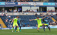 Aaron Pierre of Wycombe Wanderers heads a shot at goal during the Sky Bet League 2 match between Wycombe Wanderers and Colchester United at Adams Park, High Wycombe, England on 27 August 2016. Photo by Andy Rowland.