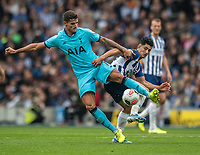Brighton & Hove Albion's Steven Alzate (right) battles for possession with Tottenham Hotspur's Erik Lamela (left) <br /> <br /> Photographer David Horton/CameraSport<br /> <br /> The Premier League - Brighton and Hove Albion v Tottenham Hotspur - Saturday 5th October 2019 - The Amex Stadium - Brighton<br /> <br /> World Copyright © 2019 CameraSport. All rights reserved. 43 Linden Ave. Countesthorpe. Leicester. England. LE8 5PG - Tel: +44 (0) 116 277 4147 - admin@camerasport.com - www.camerasport.com