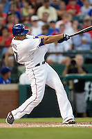 Texas Rangers outfielder Nelson Cruz #17 at bat during the Major League Baseball game against the Texas Rangers at the Rangers Ballpark in Arlington, Texas on July 27, 2011. Minnesota defeated Texas 7-2.  (Andrew Woolley/Four Seam Images)