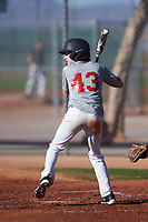 Lucas Weaver (43), from Union, Kentucky, while playing for the Indians during the Under Armour Baseball Factory Recruiting Classic at Red Mountain Baseball Complex on December 29, 2017 in Mesa, Arizona. (Zachary Lucy/Four Seam Images)