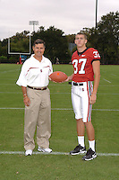 7 August 2006: Stanford Cardinal head coach Walt Harris and Mark Mueller during Stanford Football's Team Photo Day at Stanford Football's Practice Field in Stanford, CA.