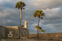 Historic Castillo San Marcos in late afternoon light, St. Augustine, Florida.