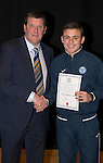 St Johnstone FC Academy Awards Night...06.04.15  Perth Concert Hall<br /> Tommy Wright presents a certificate to Jamie McPherson<br /> Picture by Graeme Hart.<br /> Copyright Perthshire Picture Agency<br /> Tel: 01738 623350  Mobile: 07990 594431