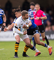 Wasps' Willie Le Roux is tackled by Bath Rugby's Anthony Watson<br /> <br /> Photographer Bob Bradford/CameraSport<br /> <br /> Premiership Rugby Cup - Bath Rugby v Wasps - Sunday 5th May 2019 - The Recreation Ground - Bath<br /> <br /> World Copyright © 2018 CameraSport. All rights reserved. 43 Linden Ave. Countesthorpe. Leicester. England. LE8 5PG - Tel: +44 (0) 116 277 4147 - admin@camerasport.com - www.camerasport.com