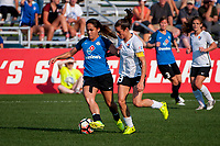 Kansas City, MO - Sunday September 3, 2017: Lo'eau Labonta, Kelley O'Hara during a regular season National Women's Soccer League (NWSL) match between FC Kansas City and Sky Blue FC at Children's Mercy Victory Field.