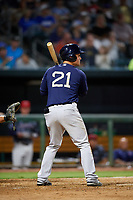 Mobile BayBears first baseman Matt Thaiss (21) at bat during a game against the Jacksonville Jumbo Shrimp on April 14, 2018 at Baseball Grounds of Jacksonville in Jacksonville, Florida.  Mobile defeated Jacksonville 13-3.  (Mike Janes/Four Seam Images)