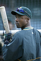 Ray Durham of the Oakland Athletics before a 2002 MLB season game against the Los Angeles Angels at Angel Stadium, in Anaheim, California. (Larry Goren/Four Seam Images)