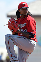 Minnesota Twins pitcher Ervin Santana (54) during a Spring Training game against the Pittsburgh Pirates on March 13, 2015 at McKechnie Field in Bradenton, Florida.  Minnesota defeated Pittsburgh 8-3.  (Mike Janes/Four Seam Images)