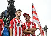 June 4th 2017, Estadi Montilivi,  Girona, Catalonia, Spain; Spanish Segunda División Football, Girona versus Zaragoza; A father with his son in face paint with team flags in Montilivi