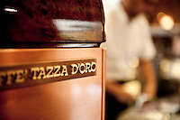 Tazza D' Oro, bar in the historic centre of Rome where the coffee beans are roasted by hand, Rome, italy