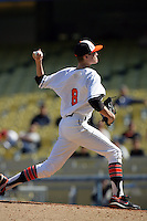 February 28 2010: Andrew Heaney of Oklahoma State during game against Vanderbilt at Dodger Stadium in Los Angeles,CA.  Photo by Larry Goren/Four Seam Images