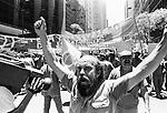 Passeata dos petroleiros no centro do Rio de Janeiro - 1987..Protest march of the oil tankers in the center of Rio de Janeiro - 1987.
