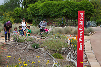 Chidren with docent in Crescent Farm, sustainable demonstation garden; Los Angeles County Arboretum and Botanic Garden