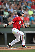 Right fielder Granger Studdard (35) of the Greenville Drive bats in a game against the Kannapolis Intimidators on Friday, July 14, 2017, at Fluor Field at the West End in Greenville, South Carolina. Greenville won, 2-0. (Tom Priddy/Four Seam Images)