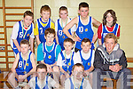 St Anne's team that played St Joesph's in the u14 boys Kerry Area Basketball Juvenile Plate Final in Killarney on Sunday front row l-r: William Courtney, Seamus Kerins. Middle row: Jason O'Connor, Billy O'Rourke, Jack Staunton, Padraig O'Mahony, Arthur Fitzgerald, Patrick Murphy, Eddie O'Rourke, Michea?l O'Shea, Sean Burke and Philip Lyons ..