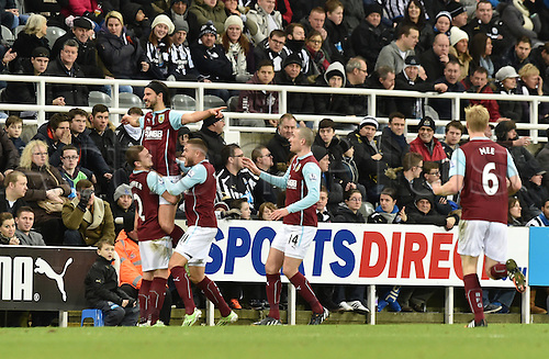 01.01.2015.  Newcastle, England. Barclays Premier League. Newcastle versus Burnley.  George Boyd of Burnley celebrates scoring his goal