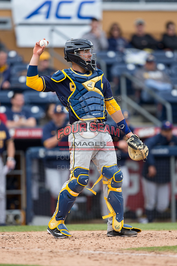 California Golden Bears catcher Brett Cumberland (28) throws the ball back to his pitcher during the game against the Duke Blue Devils at Durham Bulls Athletic Park on February 20, 2016 in Durham, North Carolina.  The Blue Devils defeated the Golden Bears 6-5 in 10 innings.  (Brian Westerholt/Four Seam Images)