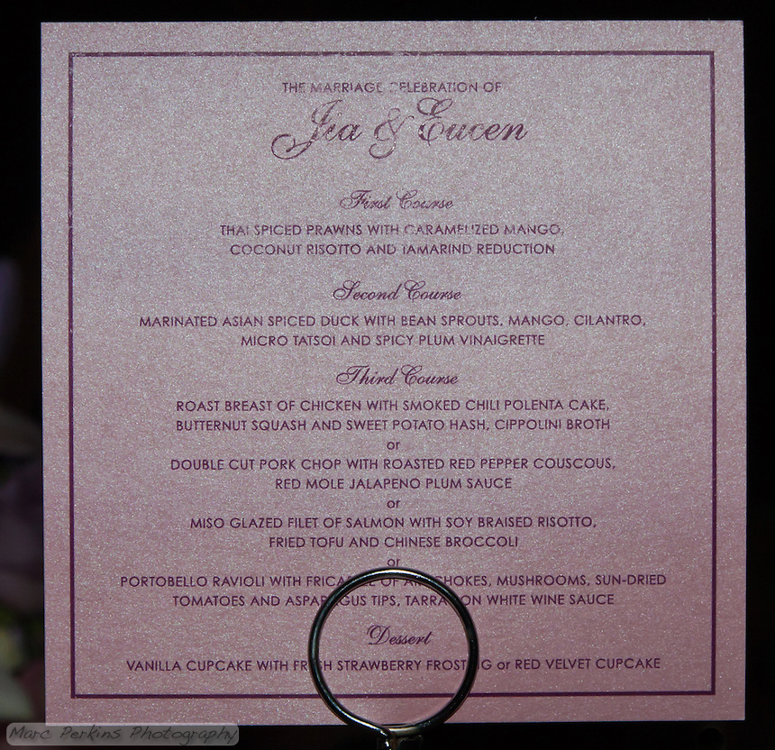 The catered food at the wedding was excellent; the menu, however, was printed on sparkling paper which was insanely difficult to photograph.