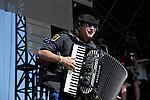 Yuri Lemeshev of Gogol Bordello performs during the Hangout Music Fest in Gulf Shores, Alabama on May 19, 2012.