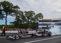 Jun 6, 2015; Englishtown, NJ, USA; NHRA top fuel driver Morgan Lucas during qualifying for the Summernationals at Old Bridge Township Raceway Park. Mandatory Credit: Mark J. Rebilas-