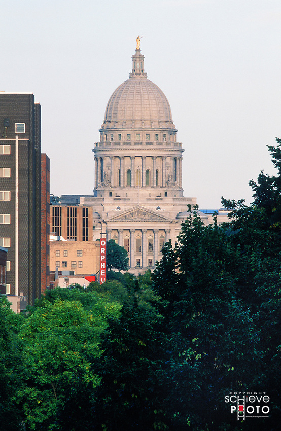 A view of the Wisconsin State Capitol from Bascom Hill.