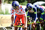 Polka Dot Jersey Dion Smith (NZL) and Wanty-Groupe Gobert in action during Stage 3 of the 2018 Tour de France a Team Time Trial running 35.5km from Cholet to Cholet (35,5km, France. 9th July 2018. <br /> Picture: ASO/Pauline Ballet | Cyclefile<br /> All photos usage must carry mandatory copyright credit (&copy; Cyclefile | ASO/Pauline Ballet)