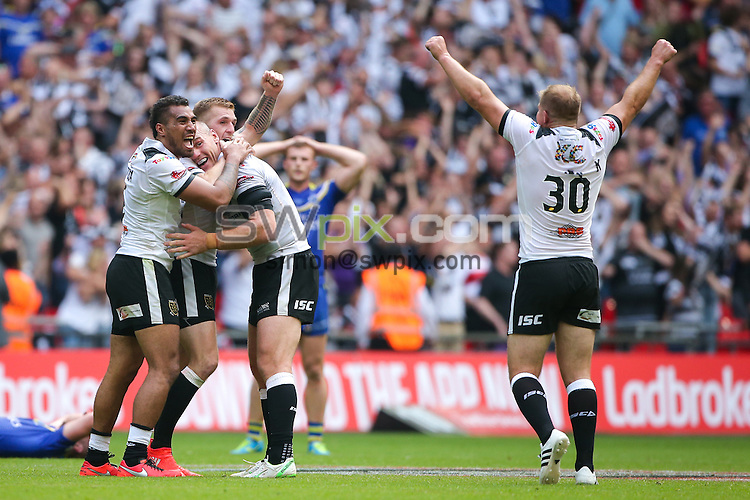 Picture by Alex Whitehead/SWpix.com - 27/08/2016 - Rugby League - Ladbrokes Challenge Cup Final - Hull FC v Warrington Wolves - Wembley Stadium, London, England - Hull FC's Marc Sneyd, Gareth Ellis, Fetuli Talanoa and Danny Washbrook celebrate the win.