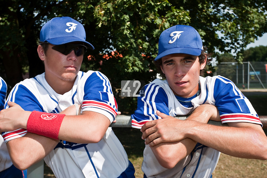 Baseball - 2009 European Championship Juniors (under 18 years old) - Bonn (Germany) - 06/08/2009 - Day 4 - Warren Coopman, Andy Pitcher (France)