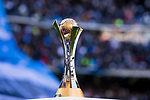 The FIFA Club World Cup trophy is seen prior to the La Liga 2017-18 match between Real Madrid and FC Barcelona at Santiago Bernabeu Stadium on December 23 2017 in Madrid, Spain. Photo by Diego Gonzalez / Power Sport Images