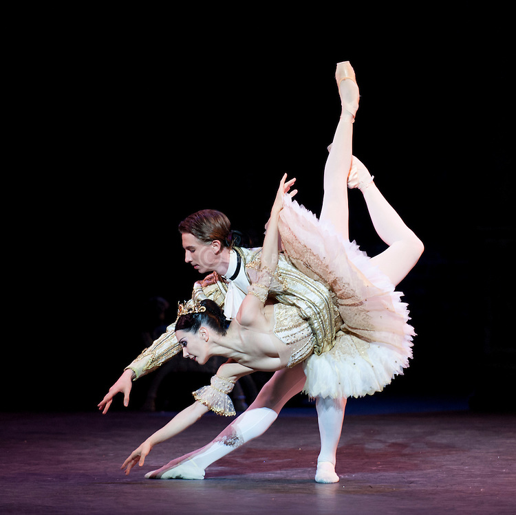 "English National Ballet. ""Sleeping Beauty"". Vadim Muntagirov, Tamara Rojo and Daria Klimentova."