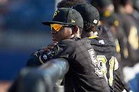 Victor Ngoepe (5) of the Bristol Pirates watches the action from the dugout during the game against the Danville Braves at American Legion Post 325 Field on July 1, 2018 in Danville, Virginia. The Braves defeated the Pirates 3-2 in 10 innings. (Brian Westerholt/Four Seam Images)