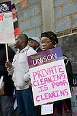 Workers at the Hackney Centre for Forensic Mental Health join a Unison protest outside East London NHS Foundation Trust against privatisation of domestic, catering and portering services, and cuts in nursing staff.