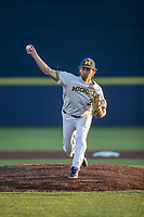 Michigan Wolverines pitcher Karl Kauffmann (37) delivers a pitch to the plate against the Rutgers Scarlet Knights on April 26, 2019 in the NCAA baseball game at Ray Fisher Stadium in Ann Arbor, Michigan. Michigan defeated Rutgers 8-3. (Andrew Woolley/Four Seam Images)