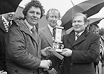 "The St. Patrick's Day Parade makes its way down High Street and onto Main Street in 1978. Photo shows John O'Leary, TD, Grand Marshall with Peter Irwin, President, Killarney Chamber of Commerce  presenting Seanie O""Shea of the ESB with 1st prize.<br /> Picture by Don MacMonagle <br /> www.macmonagle.com"