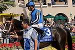 DEL MAR, CA  SEPTEMBER 1:#3 Watch Me Burn, ridden by Alonso Quinonez, in the paddock of the Del Mar Debutante (Grade 1) on September 1, 2018, at Del Mar Thoroughbred Club in Del Mar, CA.(Photo by Casey Phillips/Eclipse Sportswire/Getty ImagesGetty Images
