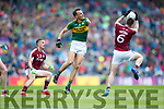 Donnchadh Walsh Kerry in action against Gareth Bradshaw Galway in the All Ireland Senior Football Quarter Final at Croke Park on Sunday.