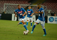 Dries Mertens  and Lorenzo Insigne  during the  italian serie a soccer match,  SSC Napoli - Milan      at  the San  Paolo   stadium in Naples  Italy , August 25, 2018
