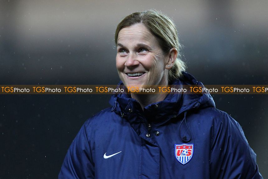 USA manager Jill Ellis looks on ahead of kick-off - England Women vs USA Women - International Football Friendly Match at Stadium MK, Milton Keynes Dons FC - 13/02/15 - MANDATORY CREDIT: Gavin Ellis/TGSPHOTO - Self billing applies where appropriate - contact@tgsphoto.co.uk - NO UNPAID USE