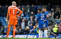 Willian of Chelsea looks round at Goalkeeper Wilfredo Caballero of Chelsea at full time during the Premier League match between Chelsea and Tottenham Hotspur at Stamford Bridge, London, England on 1 April 2018. Photo by Andy Rowland.