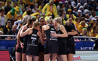 11.08.2015 Silver Ferns in action during the Silver Ferns v Jamaica netball match at the 2015 Netball World Cup at All Phones Arena in Sydney Australia. Mandatory Photo Credit ©Michael Bradley.