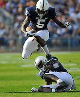 20 September 2014:  Penn State WR DaeSean Hamilton (5) hurdles fellow WR Eugene Geno Lewis (7) . The Penn State Nittany Lions vs. the University of Massachusetts Minutemen at Beaver Stadium in State College, PA.