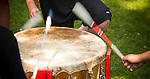 Drumsticks hitting a drum. The march for Jobs, Justice and the Climate was led by youth dummers. <br /> <br /> On July 5th more than 10,000 people gathered in Toronto, the traditional territories of the Missisauga peoples, for the March for Jobs, Justice and the Climate. The march told the story of a new economy that works for people and the planet. People marched for an economy that starts with justice, creates good work, clean jobs and healthy communities. The people recognize that we have solutions and we know who is responsible for causing the climate crisis. (Photo: Robert van Waarden